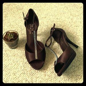 Brown Satin Rhinestone Heels